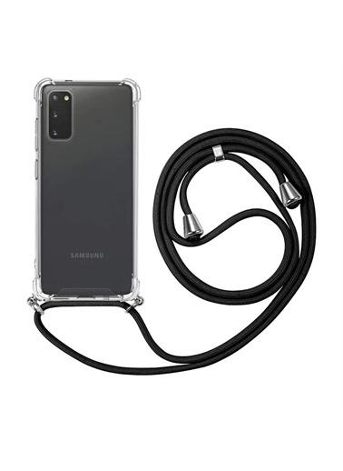 Microsonic Samsung Galaxy S20 Kılıf Neck Lanyard Lila Siyah